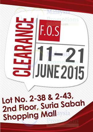 Featured image for F.O.S Clearance Sale @ Suria Sabah 11 – 21 Jun 2015