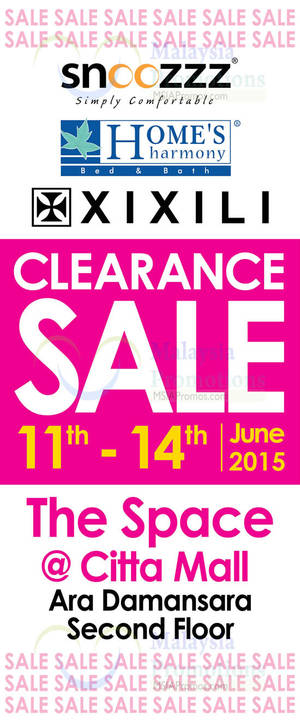 Featured image for Home's Harmony & Xixili Clearance Sale @ Citta Mall 11 – 14 Jun 2015