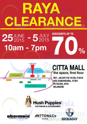Hush Puppies Raya Clearance   Citta Mall 25 Jun – 5 Jul 2015 1c21fc46eb