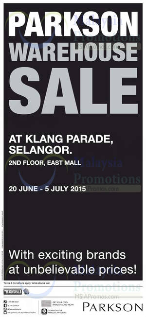 Featured image for Parkson Warehouse Sale @ Klang Parade Selangor 20 Jun – 5 Jul 2015