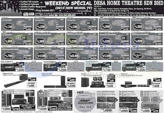 Featured image for Desa Home Theatre Audio Visual TVs, HiFi & Other Offers 20 Jun 2015