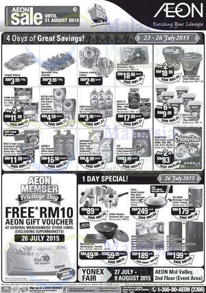 Featured image for AEON GMS Free RM10 Voucher 1 Day Member Promo 26 Jul 2015