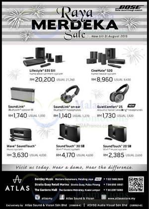 Featured image for Atlas Bose Speakers & Systems Raya Merdeka Sale 30 Jul – 31 Aug 2015