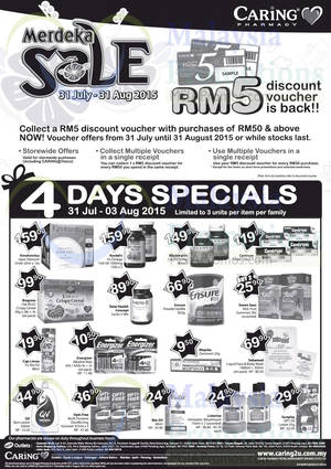 Featured image for Caring Pharmacy FREE RM5 Voucher Promo 31 Jul – 31 Aug 2015