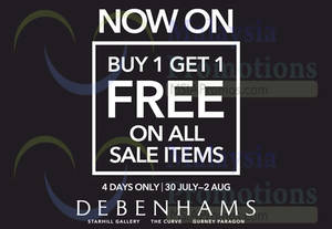 Featured image for Debenhams Buy One Get One FREE Promotion 30 Jul – 2 Aug 2015