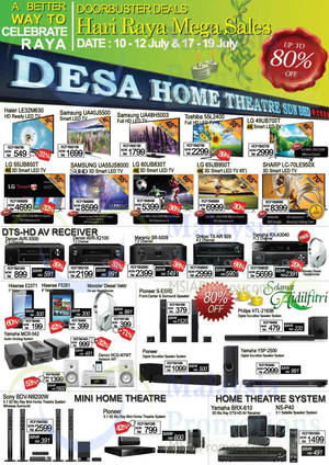 Featured image for Desa Home Theatre Audio Visual TVs, HiFi & Other Offers 17 – 19 Jul 2015