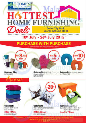 Featured image for Home's Harmony Home Furnishing Deals @ Setia City Mall 10 – 26 Jul 2015