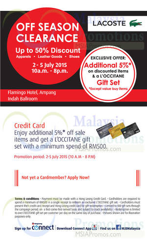 Featured image for Lacoste Off Season Clearance @ Ampang 3 – 5 Jul 2015