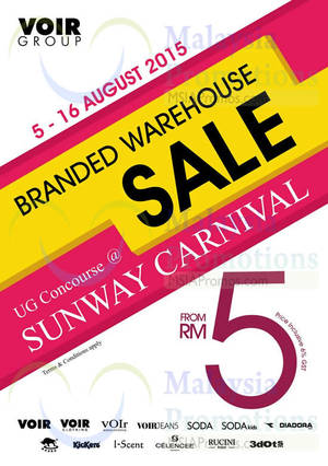 Featured image for Voir Branded Warehouse Sale @ Sunway Carnival 5 – 16 Aug 2015