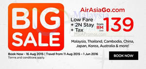 Featured image for Air Asia Go fr RM139 Flights + 2 Nights + Taxes Big Sale 10 – 16 Aug 2015