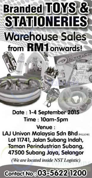 Featured image for Branded Toys & Stationeries Warehouse Sale 1 – 4 Sep 2015