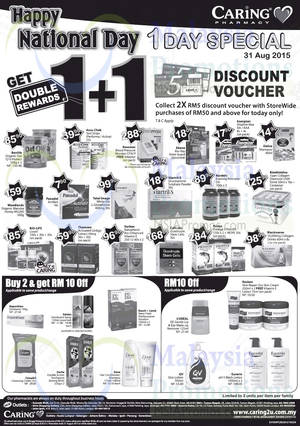 Featured image for Caring Pharmacy FREE Two RM5 Vouchers Promo 31 Aug 2015