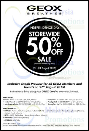 Featured image for Geox 50% OFF Independence Day SALE 28 – 31 Aug 2015