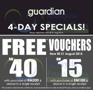 Featured image for Guardian Spend & Get FREE Vouchers 28 – 31 Aug 2015