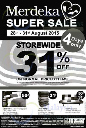Featured image for Home's Harmony 31% OFF Storewide Merdeka Super Sale 28 – 31 Aug 2015