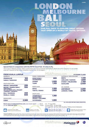 Featured image for Malaysia Airlines MITM Travel Fair Promo Fares 17 Aug 2015