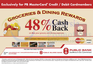 Featured image for Public Bank 48% Cashback for Grocery & Dining Spend 19 Aug 2015
