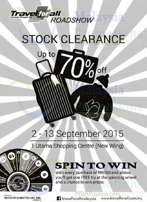 Featured image for Travel For All Up to 70% Stock Clearance @ 1 Utama 2 – 13 Sep 2015