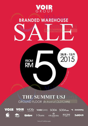 Featured image for Voir Branded Warehouse Sale @ The Summit USJ 28 Aug – 13 Sep 2015