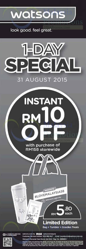 Featured image for Watsons RM10 Off with RM158 Storewide 1-Day Promo 31 Aug 2015