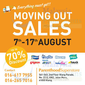 Featured image for Parenthood Superstore Moving Out Sale @ Klang Parade 7 – 17 Aug 2015