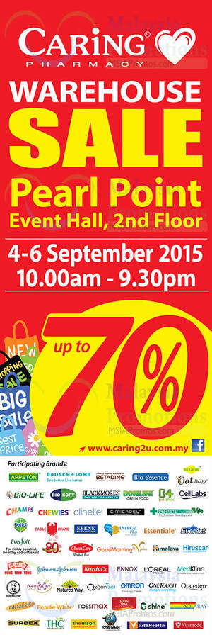 Featured image for Caring Pharmacy Warehouse SALE @ Pearl Point 4 – 6 Sep 2015