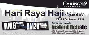 Featured image for Caring Pharmacy RM8 Rebate Promo 24 – 28 Sep 2015