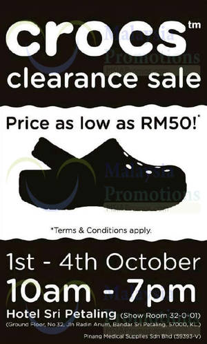 c52daff104664c Crocs Clearance Sale   Hotel Sri Petaling 1 – 4 Oct 2015