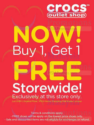 d3a73965c1baf6 Crocs Buy 1 FREE 1 Storewide   Viva Home 15 Sep 2015