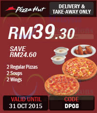Featured image for Pizza Hut Dine-In, Delivery, Online & Takeaway Coupons 12 Sep – 31 Oct 2015