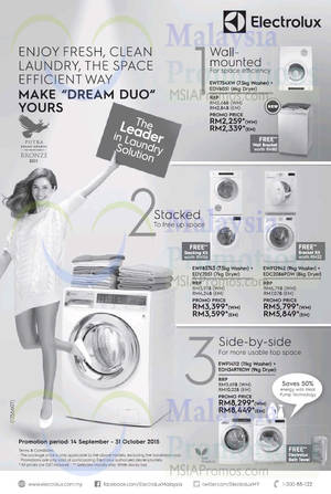 Featured image for Electrolux Washer & Dryer Package Offers 25 Sep – 31 Oct 2015