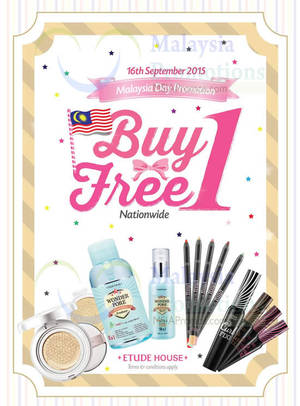 Featured image for Etude House Buy 1 FREE 1 Storewide 1-Day Promo @ Nationwide 16 Sep 2015