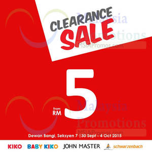Featured image for Kiko Clearance Sale @ Selangor 30 Sep – 4 Oct 2015