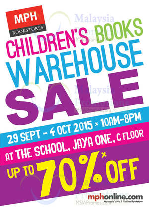 Featured image for MPH Children's Books Warehouse Sale @ The School Jaya One 29 Sep – 4 Oct 2015