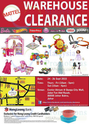 Featured image for Mattel Warehouse Clearance @ Danga City Mall 24 – 26 Sep 2015
