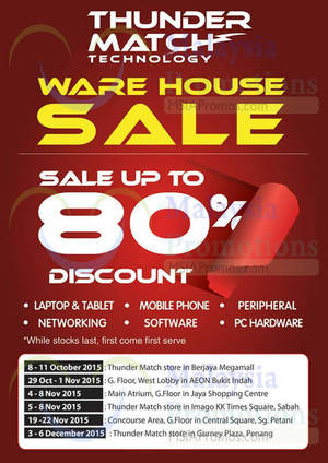 Featured image for Thunder Match Technology Warehouse Sale @ Gurney Plaza 3 – 6 Dec 2015