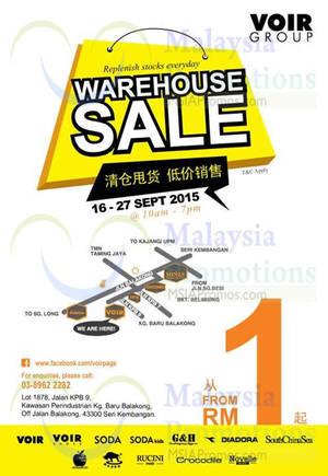 Featured image for Voir Group Warehouse Sale @ Seri Kembangan 16 – 27 Sep 2015