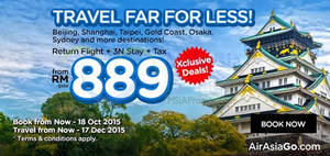 Featured image for Air Asia Go fr RM889 Travel Far for Less Promotion 12 – 18 Oct 2015