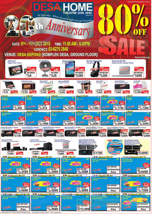 Featured image for Desa Home Theatre Audio Visual TVs, HiFi & Other Offers 9 Oct 2015