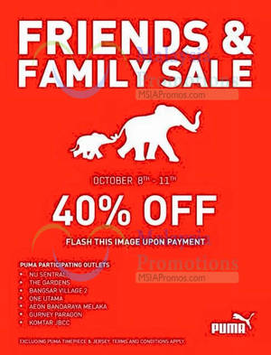 Featured image for Puma 40% OFF Storewide Coupon @ Selected Outlets 8 – 11 Oct 2015