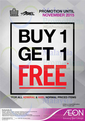 Featured image for Admiral & Axel Buy 1 Free 1 Promotion @ AEON 3 – 30 Nov 2015