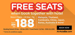 Featured image for Air Asia Go fr RM188 Book Hotel & Get FREE Seats Promo 23 – 29 Nov 2015