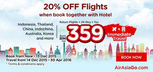 Featured image for Air Asia Go 20% Off Flights & fr RM359/pax 2N all-in Package Promo 30 Nov – 13 Dec 2015