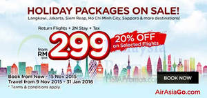Featured image for Air Asia Go fr RM299 (Flights, 2N Stay & Taxes inc.) Promotion 9 – 15 Nov 2015
