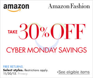 Featured image for Amazon.com 30% OFF Fashion, Shoes, Jewellery & More (NO Min Spend) Cyber Monday Coupon Code 30 Nov – 1 Dec 2015