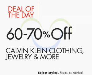 Featured image for Calvin Klein 60% to 70% Off Clothing, Jewellery & More 24hr Promo 2 – 3 Nov 2015
