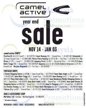 Camel Active Shops, Footwear, Bags & Accessories Year End SALE 14 Nov 2015  – 3 Jan 2016