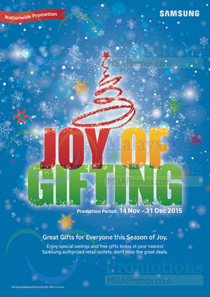 Featured image for Samsung TVs & Home Appliances Joy of Gifting Promo Offers 15 Nov – 31 Dec 2015