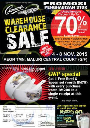 Featured image for Crocodile Warehouse Sale @ Aeon Taman Maluri Cheras 4 – 8 Nov 2015