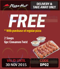 Featured image for Pizza Hut Dine-In, Delivery, Online & Takeaway Coupons 10 – 30 Nov 2015
